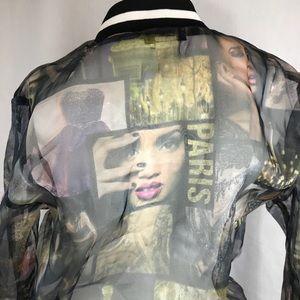 Women's jacket L Paris transparent fabric zipper